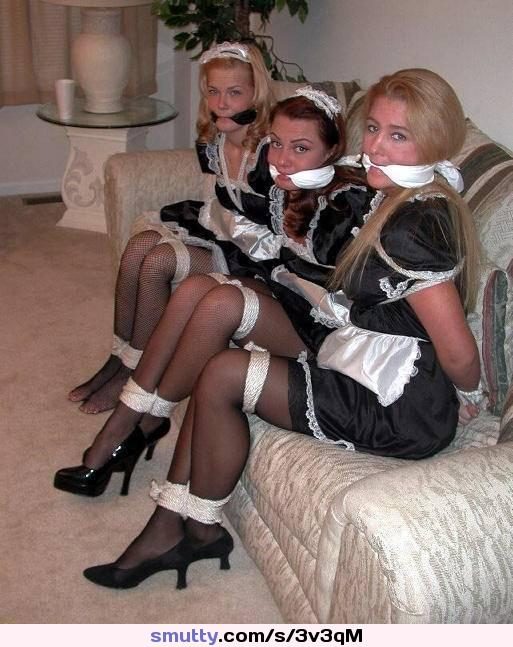 OK, only 3 Maids a molking...:) #uniform #maid #bdsm #submission #bound #stockings #gagged #sexy