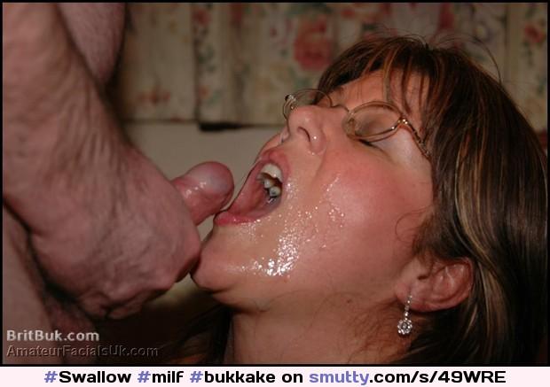 Cum Thirsty British Milf Gets Satisfied. #Milf #Bukkake #Facials #Cum #Swallow