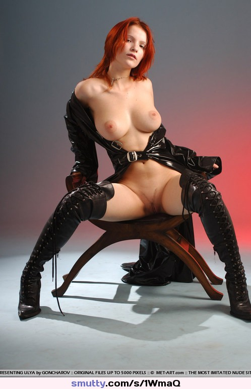 Mean sexy leather boot femdom