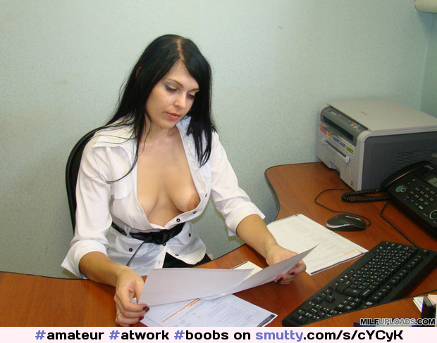 #amateur #atwork #boobs #niceboobs #titsout #teasing #downblouse #hotwife #weddingring #hot #wife #wifeatwork