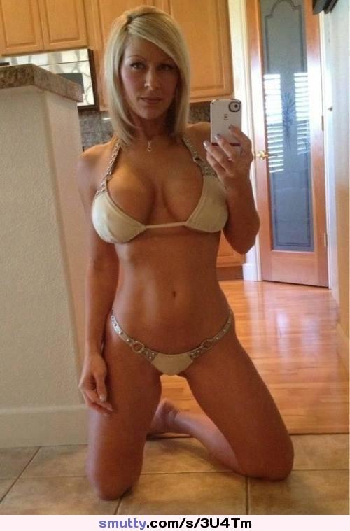 bikini selfie busty Milf cleavage