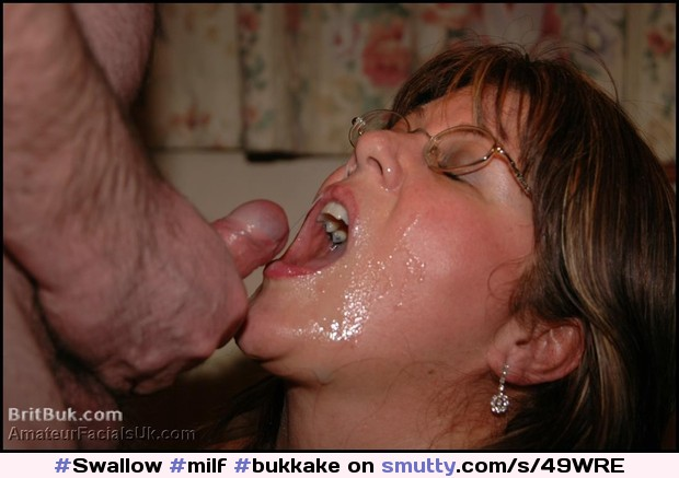 Cum Thirsty British Milf Gets Satisfied. #Milf #Bukkake #Facials #Cum #Swallow