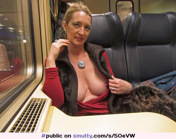 Mature ladies flashing boobs in public