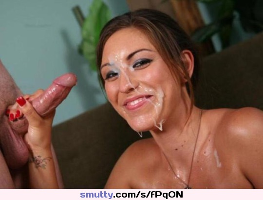 Smiling cum facial bukkake can