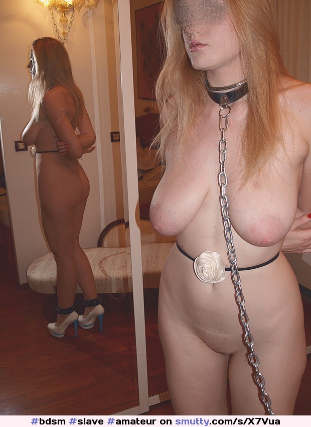 #bdsm #slave #amateur #submissive #blonde #heelsonly #pale #nicetits #natural #cuffed #collar #leash #ArmsBehindBack #niceshave #BlowjobLips
