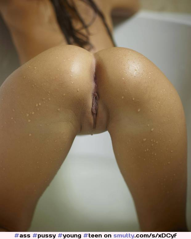 wet young shaved pussy bent over