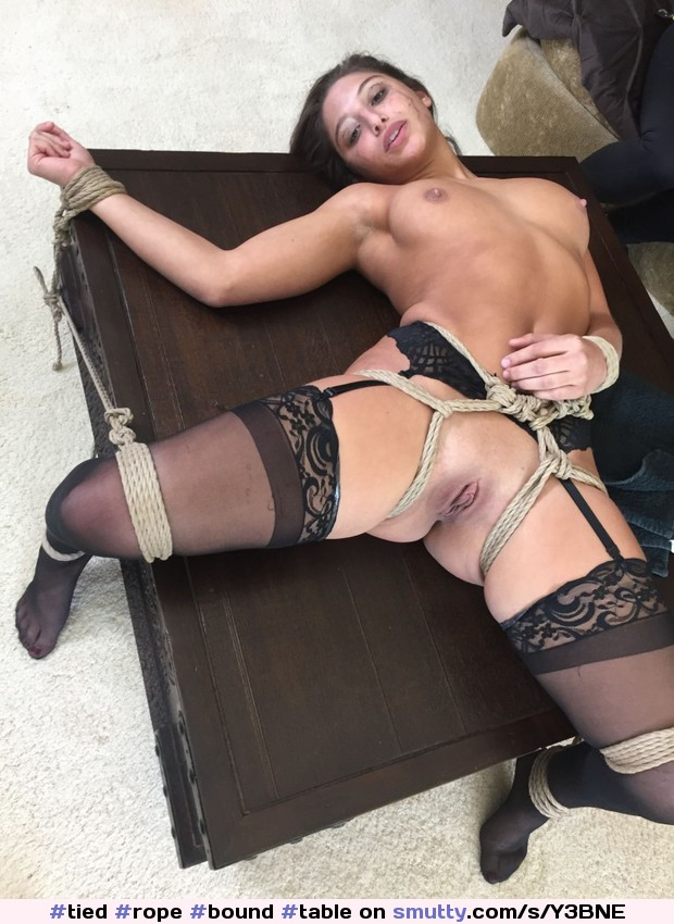 #tied #rope #bound #table #spread #shaved #shavedpussy #nipples #bondage #bdsm #bound #stockings #garters