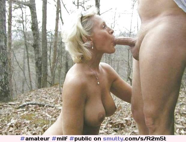 Hot blonde blowjob outdoors