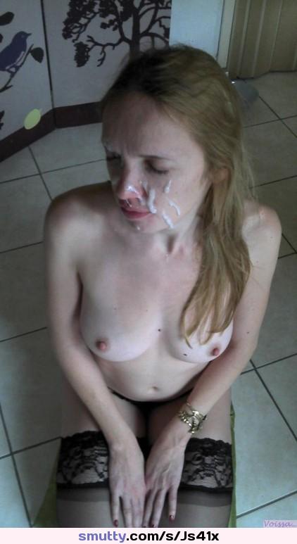 Unhappy facial cumshot