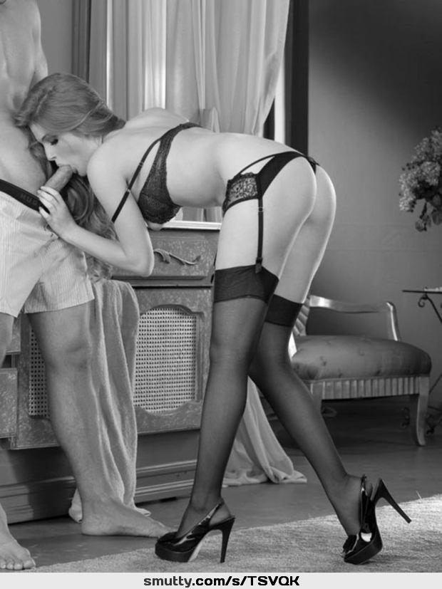in nylon stockings Blow job