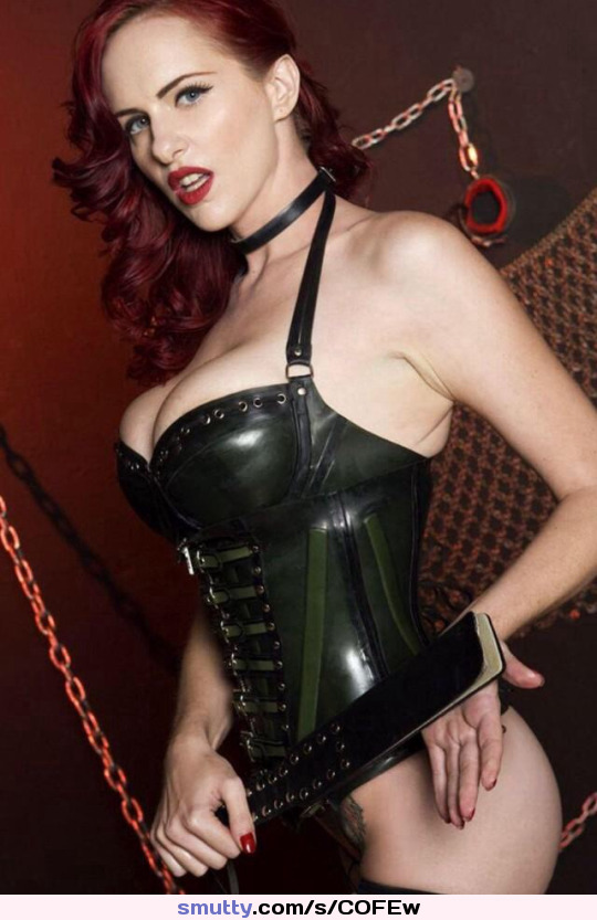 Lingerie leather hot redhead sexy